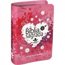 Bíblia de bolso capa rosa Coraçao - RA