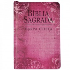 Bíblia com Harpa Cristã letra maior RC com ziper Rosa com com flores