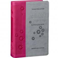 Bíblia Letra Gigante RA - Cinza claro e Pink e beira prateada  RA065LGI