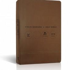 Bíblia NVI Bilíngue Português-Inglês - Capa Luxo marrom