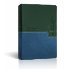 Bíblia NVI Bilíngue Português-Inglês - Capa Luxo Verde e Azul