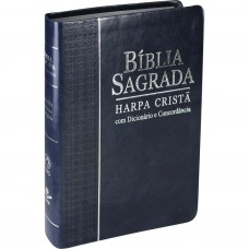Bíblia Sagrada com Harpa Crista media azul - Dicionário e Concordancia - Com indice e borda prateada - RC - 7899938401514