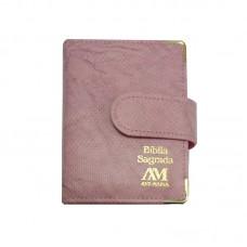 Bíblia de bolso Ave Maria rosa com fecho - 8140420980