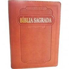 Bíblia letra grande RC com ziper e índice - Cor Marrom  -  7898521802431 ARC045TIZLG